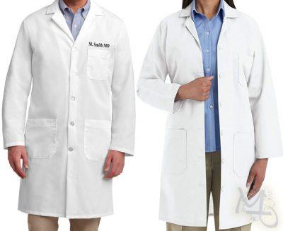 Embroidered White Lab Coat - Lab Coat